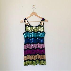 Forever 21 wave rainbow sequin mini dress size M